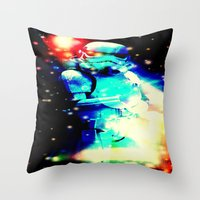 storm trooper Throw Pillows featuring STORM TROOPER by shannon's art space