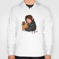 kili Hoodies featuring Kili and Kitten by Hattie Hedgehog