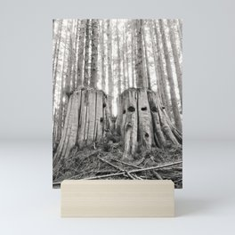 Nurse Stump Pacific Northwest Forest Cedar Trees Sepia Print Mini Art Print
