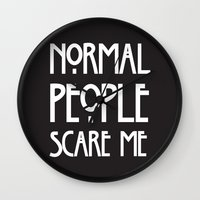 ahs Wall Clocks featuring Normal People Scare Me AHS by Double Dot Designs