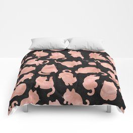 Rose Gold Pink Cats on Black Comforters