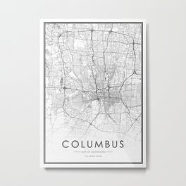 Columbus City Map United States White and Black Metal Print