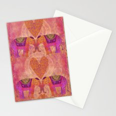 Elephants in Love heart illustration Stationery Cards