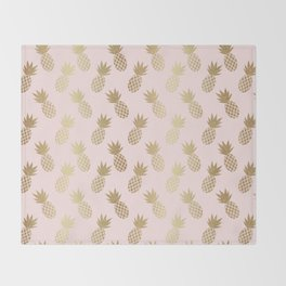 Pink & Gold Pineapples Throw Blanket