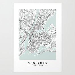 New York New York Blue Water Street Map Art Print