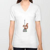 nerd V-neck T-shirts featuring Nerd by Anabella Nolasco