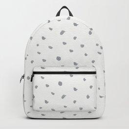 Geometrical gray white watercolor polka dots pattern Backpack