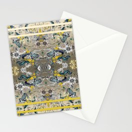 Passion Flower Baroque in Gold Yellow Grey Stationery Cards