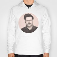 ron swanson Hoodies featuring Ron Swanson by Alexia Rose