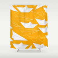 voyage Shower Curtains featuring Voyage, Voyage by BRITADESIGNS