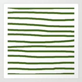 Simply Drawn Stripes in Jungle Green Art Print