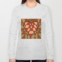 Abstract heart vintage colors Long Sleeve T-shirt