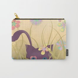 Wild Kitty Cat, Spring Blooming Flowers, Golden Beige Sky Carry-All Pouch