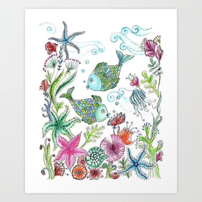 2 fishes Art Print