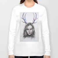cara delevingne Long Sleeve T-shirts featuring Cara Delevingne  by Pritish Bali
