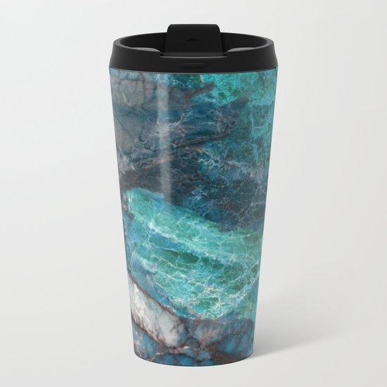 Cerulean Blue Marble Metal Travel Mug