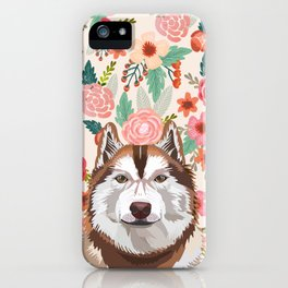 Husky red coat floral pet portrait art print and dog gifts iPhone Case