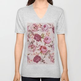 Blush Pink and Red Watercolor Floral Roses Unisex V-Neck