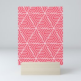 Sizzling Red - fuchsia - Geometric Seamless Triangles Pattern Mini Art Print