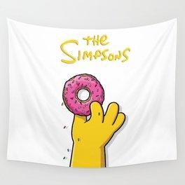 Homer's doughnut, animated tv sitcom, Matt Groening, fox, Bart, Lisa, Maggie, Marge, american family Wall Tapestry