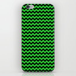 Dark Black and Bright Monster Green Halloween Chevron Stripes iPhone Skin