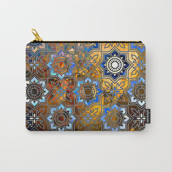 Blue and Gold Pattern Carry-All Pouch