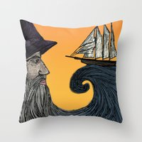 wizard Throw Pillows featuring Wizard by Brittany Rae
