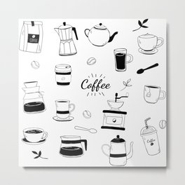 Hand Drawn Black Coffee and Cafe Pattern Metal Print