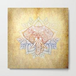 Elephant Mandala Vintage Grunge  Metal Print