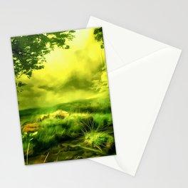 acrylic misty forest painting 2 acrstd Stationery Cards