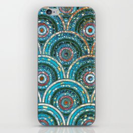 Aqua Teal Blue and Green Sparkling Faux Glitter Circles and Dots iPhone Skin