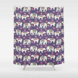 Vintage ethnic Indian elephant wild bear Shower Curtain