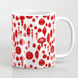 Vintage Christmas Ornaments in Red on White Coffee Mug