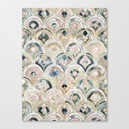 Art Deco Marble Tiles in Soft Pastels Canvas Print