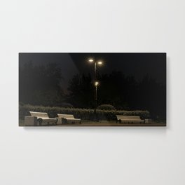 Benches in a city park at night, stars, St. Petersburg (Russia) (2018-7SPB78) Metal Print