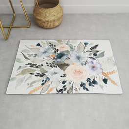 Loose Blue and Peach Floral Watercolor Bouquet  Rug