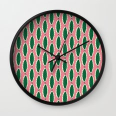Leaves On Pink Wall Clock
