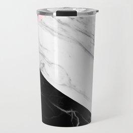 pink black and white geometric marble Travel Mug