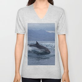 Wild and free bottlenose dolphin Unisex V-Neck