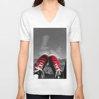 vans V-neck T-shirts featuring Shoes Reflection by Madison Walters