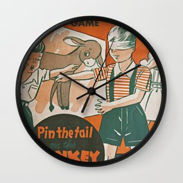 pin the tail on the donkey vintage game Wall Clock