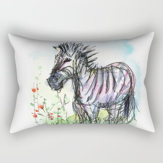 Zebra Whimsical Animal Art Rectangular Pillow