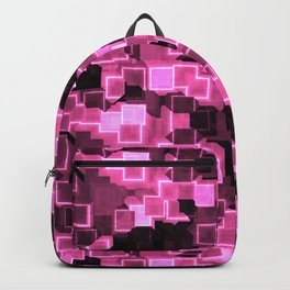 Pink Cyber Glow Neon Squares Pattern Backpack
