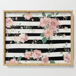 VINTAGE FLORAL ROSES BLACK AND WHITE STRIPES Serving Tray