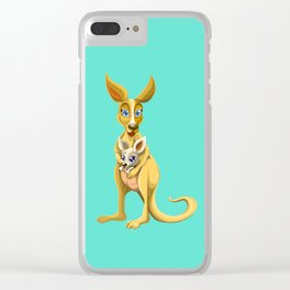 Cute kangaroo and baby cartoon Clear iPhone Case