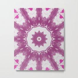 Amethyst & Hot Pink Gemstone Liquid White Smoke Kaleidoscope 4 Digital Painting Metal Print