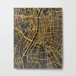 LYON FRANCE GOLD ON BLACK CITY MAP Metal Print