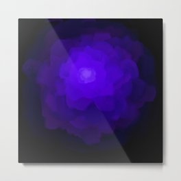 Glowing Blue Rose Emerging from  Darkness Metal Print