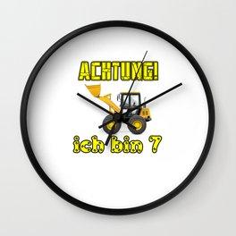 Achtung! Ich bin 7 Geburtstag baufahrzeuge bagger, Wall Clock