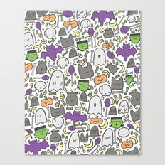 Kawaii Halloween - White Canvas Print